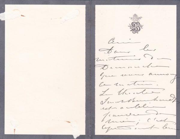 lettre sarah bernhardt