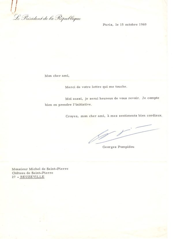 autographe georges pompidou