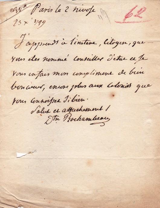 rochambeau autographe