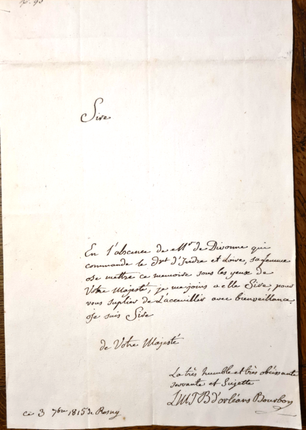 autographe louise marie therese orleans bourbon
