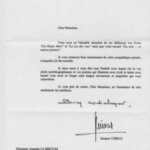 jacques chirac autographe signature