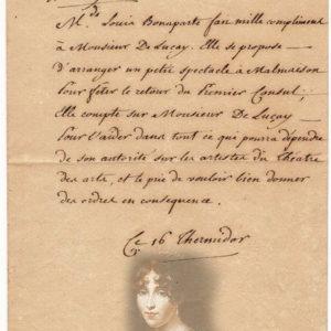 lettre autographe hortense de beauharnais